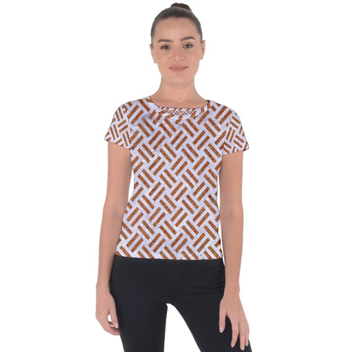 WOVEN2 WHITE MARBLE & RUSTED METAL (R) Short Sleeve Sports Top
