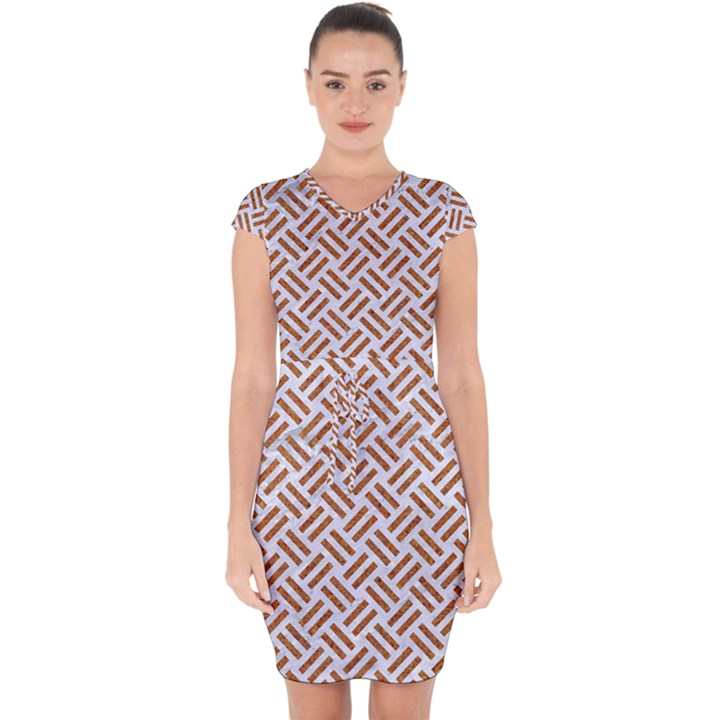 WOVEN2 WHITE MARBLE & RUSTED METAL (R) Capsleeve Drawstring Dress