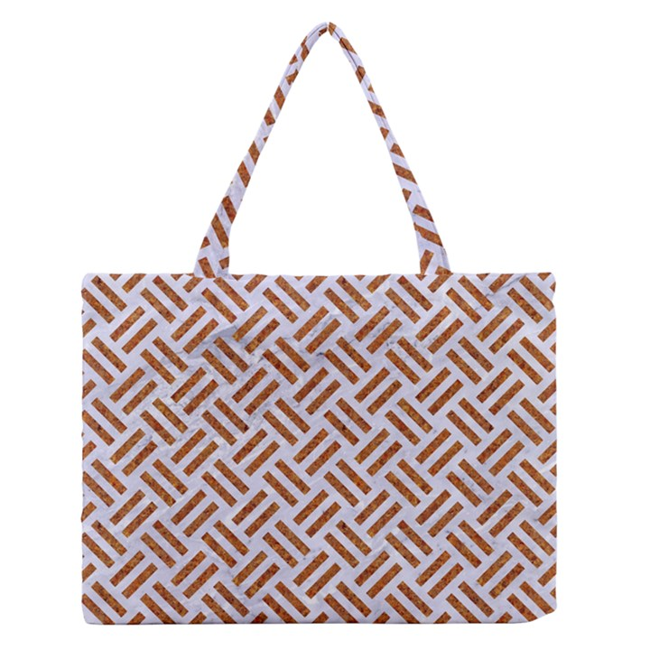WOVEN2 WHITE MARBLE & RUSTED METAL (R) Zipper Medium Tote Bag