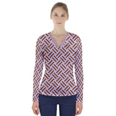 Woven2 White Marble & Rusted Metal (r) V Neck Long Sleeve Top