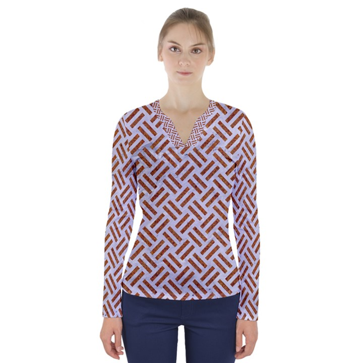 WOVEN2 WHITE MARBLE & RUSTED METAL (R) V-Neck Long Sleeve Top