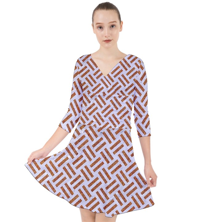 WOVEN2 WHITE MARBLE & RUSTED METAL (R) Quarter Sleeve Front Wrap Dress