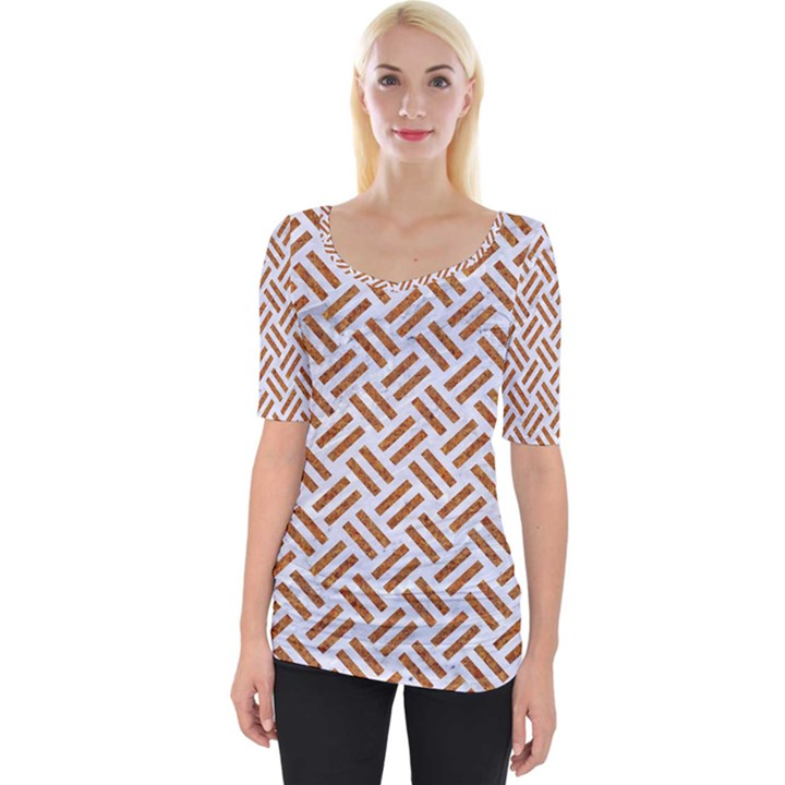 WOVEN2 WHITE MARBLE & RUSTED METAL (R) Wide Neckline Tee