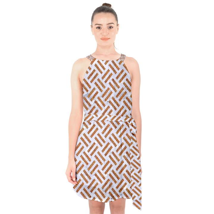 WOVEN2 WHITE MARBLE & RUSTED METAL (R) Halter Collar Waist Tie Chiffon Dress