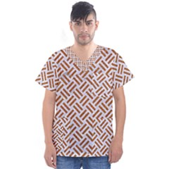 Woven2 White Marble & Rusted Metal (r) Men s V Neck Scrub Top