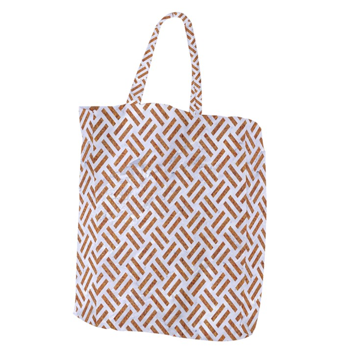 WOVEN2 WHITE MARBLE & RUSTED METAL (R) Giant Grocery Zipper Tote