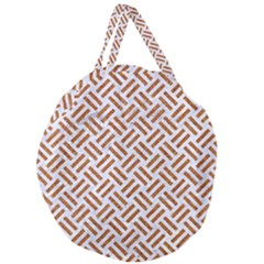 Woven2 White Marble & Rusted Metal (r) Giant Round Zipper Tote