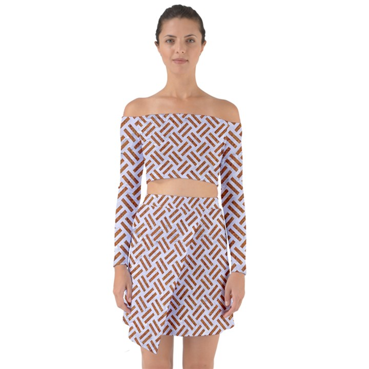 WOVEN2 WHITE MARBLE & RUSTED METAL (R) Off Shoulder Top with Skirt Set