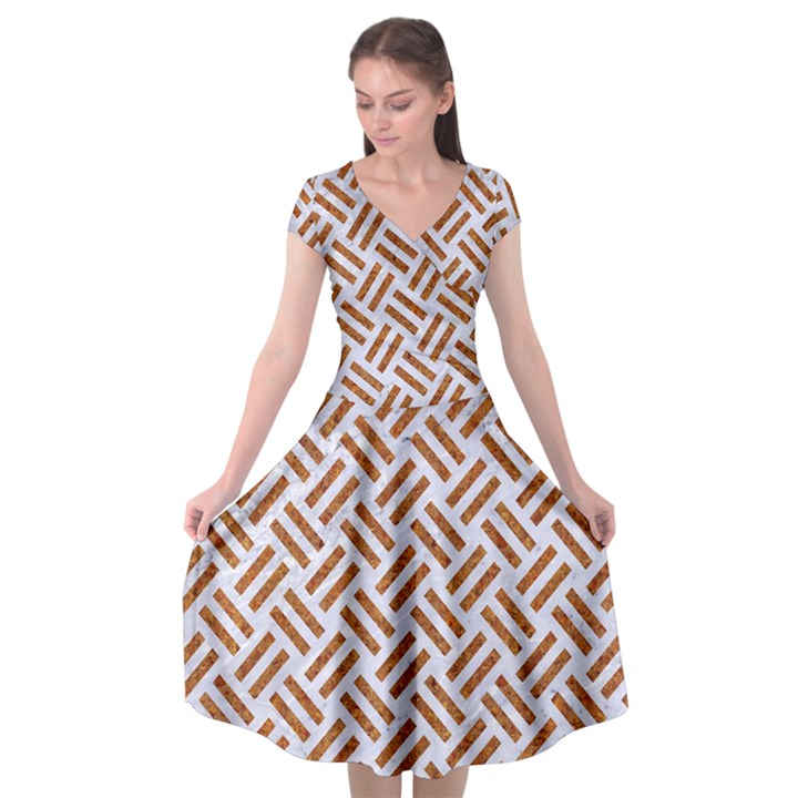 WOVEN2 WHITE MARBLE & RUSTED METAL (R) Cap Sleeve Wrap Front Dress
