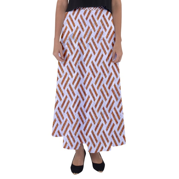WOVEN2 WHITE MARBLE & RUSTED METAL (R) Flared Maxi Skirt