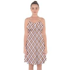 Woven2 White Marble & Rusted Metal (r) Ruffle Detail Chiffon Dress