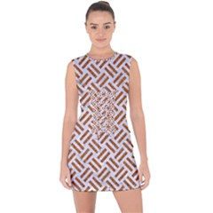 Woven2 White Marble & Rusted Metal (r) Lace Up Front Bodycon Dress