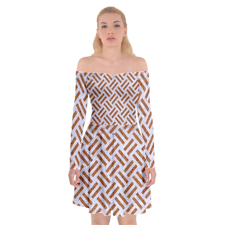 WOVEN2 WHITE MARBLE & RUSTED METAL (R) Off Shoulder Skater Dress