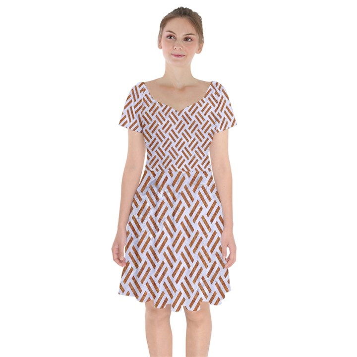 WOVEN2 WHITE MARBLE & RUSTED METAL (R) Short Sleeve Bardot Dress