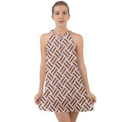 Woven2 White Marble & Rusted Metal (r) Halter Tie Back Chiffon Dress