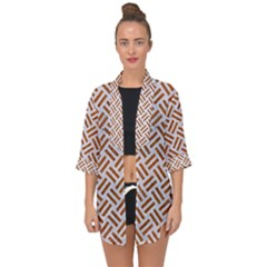 Woven2 White Marble & Rusted Metal (r) Open Front Chiffon Kimono