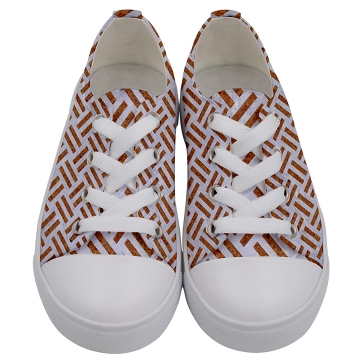 WOVEN2 WHITE MARBLE & RUSTED METAL (R) Kids  Low Top Canvas Sneakers