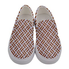 Woven2 White Marble & Rusted Metal (r) Women s Canvas Slip Ons