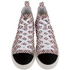 Woven2 White Marble & Rusted Metal (r) Men s Mid Top Canvas Sneakers