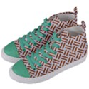 WOVEN2 WHITE MARBLE & RUSTED METAL (R) Women s Mid-Top Canvas Sneakers View2
