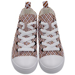 Woven2 White Marble & Rusted Metal (r) Kid s Mid Top Canvas Sneakers