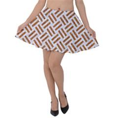Woven2 White Marble & Rusted Metal (r) Velvet Skater Skirt