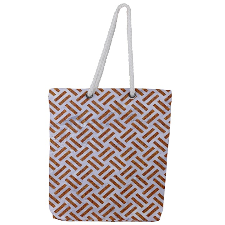 WOVEN2 WHITE MARBLE & RUSTED METAL (R) Full Print Rope Handle Tote (Large)