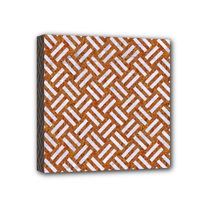 WOVEN2 WHITE MARBLE & RUSTED METAL Mini Canvas 4  x 4