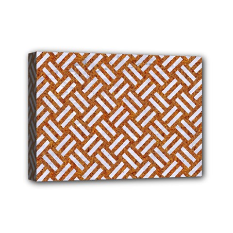 Woven2 White Marble & Rusted Metal Mini Canvas 7  X 5