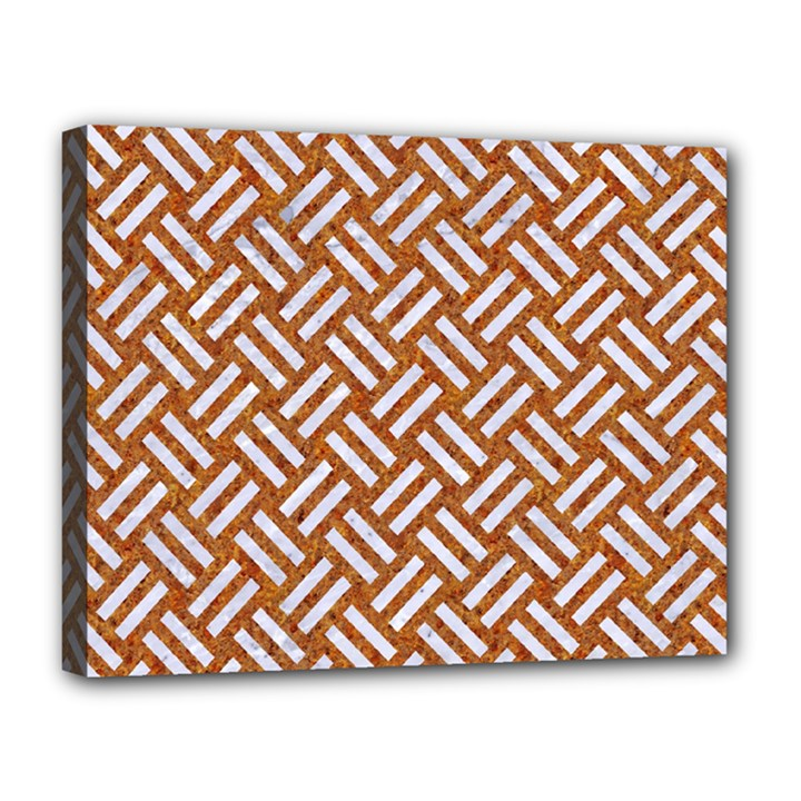WOVEN2 WHITE MARBLE & RUSTED METAL Canvas 14  x 11