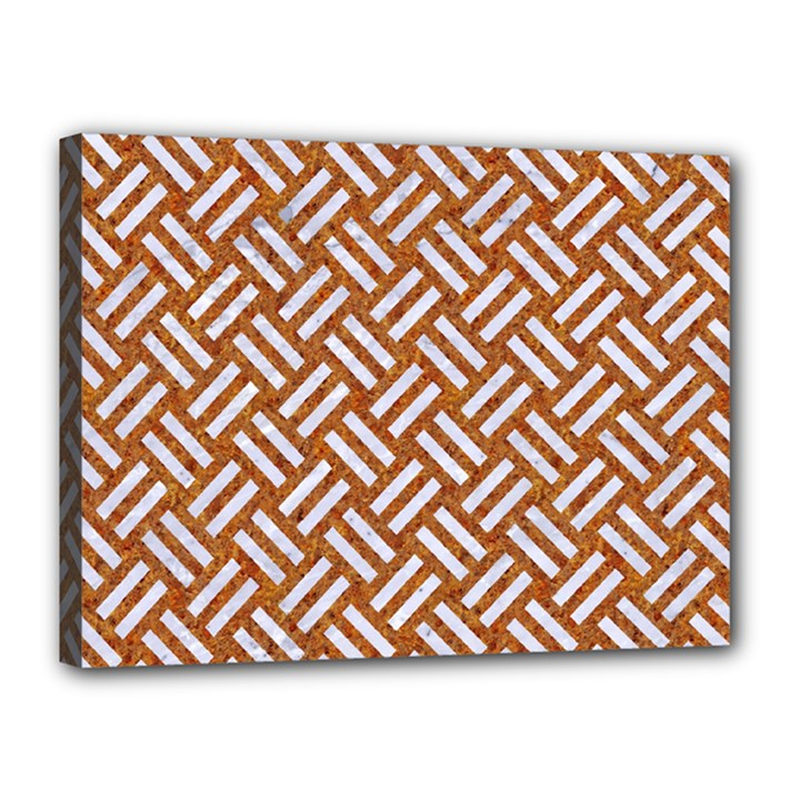 WOVEN2 WHITE MARBLE & RUSTED METAL Canvas 16  x 12