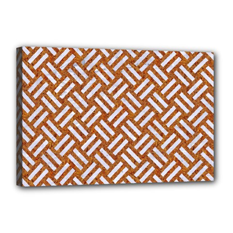 Woven2 White Marble & Rusted Metal Canvas 18  X 12