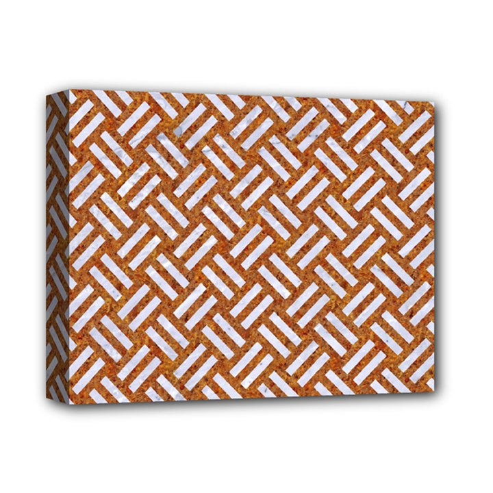 WOVEN2 WHITE MARBLE & RUSTED METAL Deluxe Canvas 14  x 11
