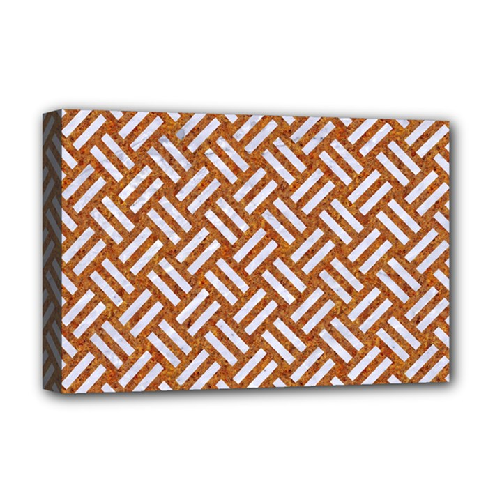 WOVEN2 WHITE MARBLE & RUSTED METAL Deluxe Canvas 18  x 12