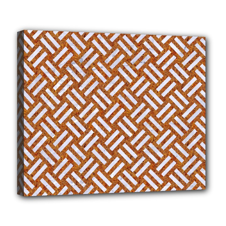 WOVEN2 WHITE MARBLE & RUSTED METAL Deluxe Canvas 24  x 20