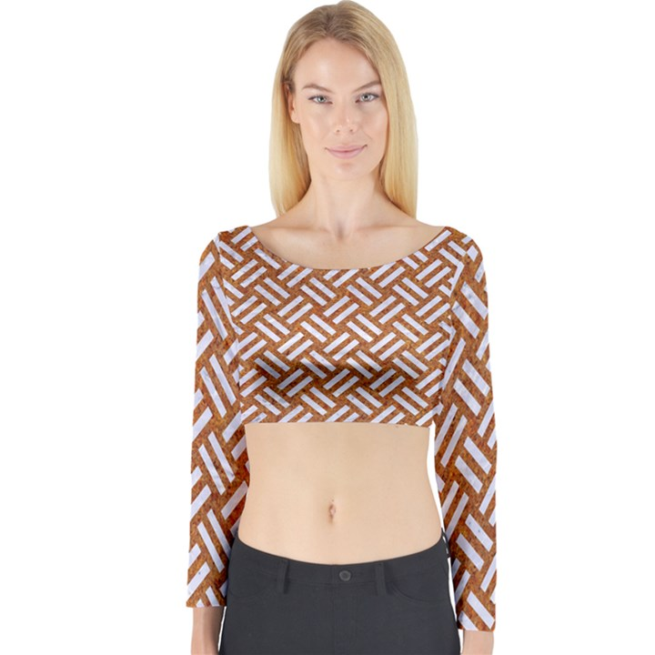 WOVEN2 WHITE MARBLE & RUSTED METAL Long Sleeve Crop Top