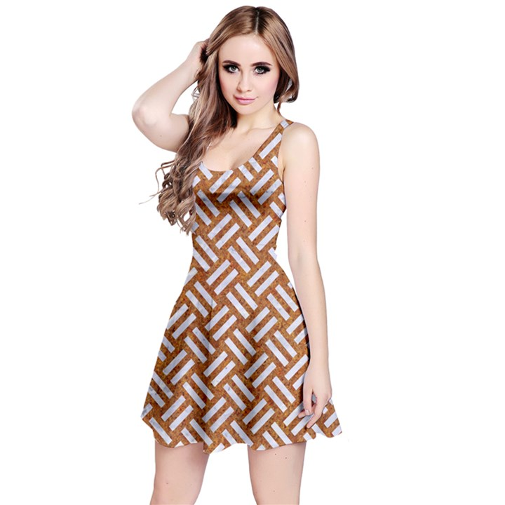 WOVEN2 WHITE MARBLE & RUSTED METAL Reversible Sleeveless Dress