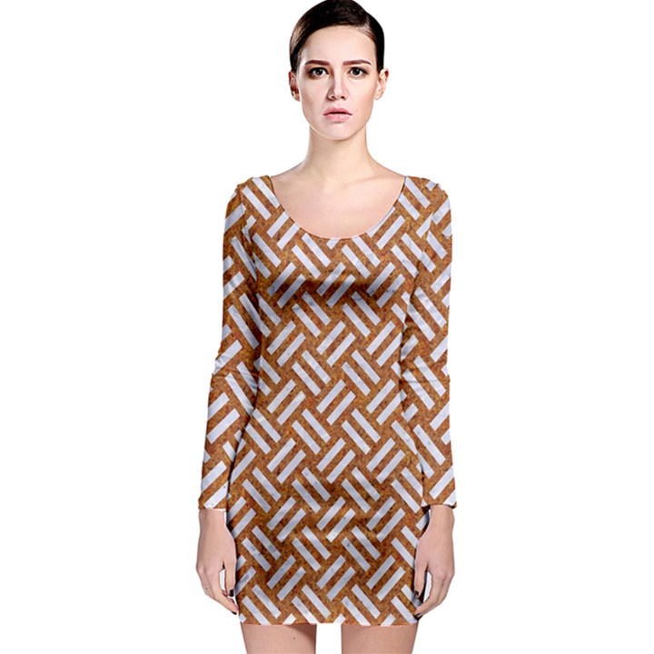 WOVEN2 WHITE MARBLE & RUSTED METAL Long Sleeve Bodycon Dress