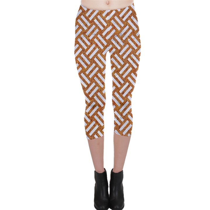 WOVEN2 WHITE MARBLE & RUSTED METAL Capri Leggings