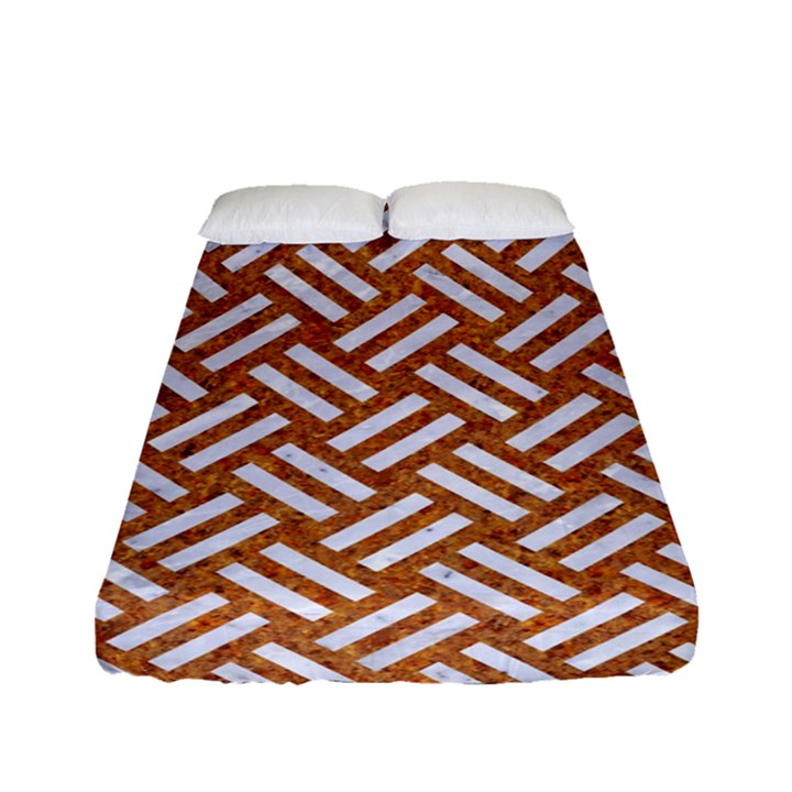 WOVEN2 WHITE MARBLE & RUSTED METAL Fitted Sheet (Full/ Double Size)