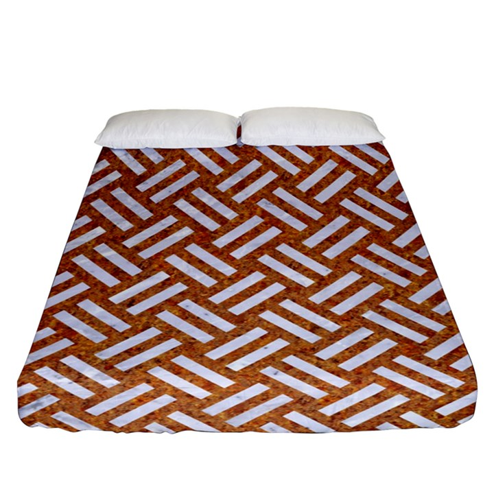WOVEN2 WHITE MARBLE & RUSTED METAL Fitted Sheet (Queen Size)