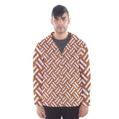 Woven2 White Marble & Rusted Metal Hooded Wind Breaker (men)
