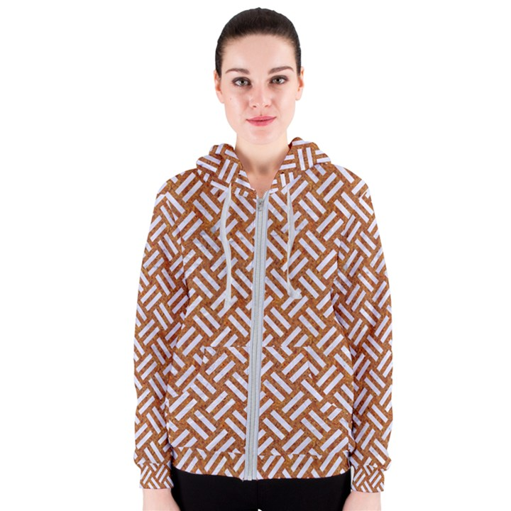 WOVEN2 WHITE MARBLE & RUSTED METAL Women s Zipper Hoodie
