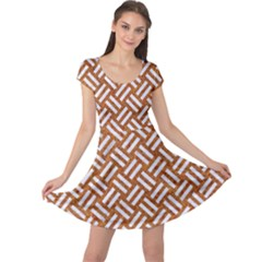 Woven2 White Marble & Rusted Metal Cap Sleeve Dress