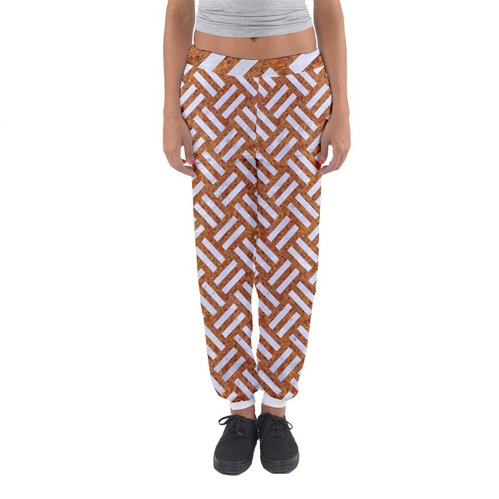 WOVEN2 WHITE MARBLE & RUSTED METAL Women s Jogger Sweatpants