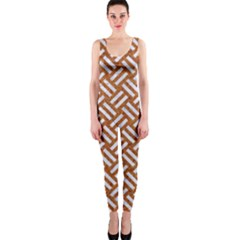 Woven2 White Marble & Rusted Metal One Piece Catsuit