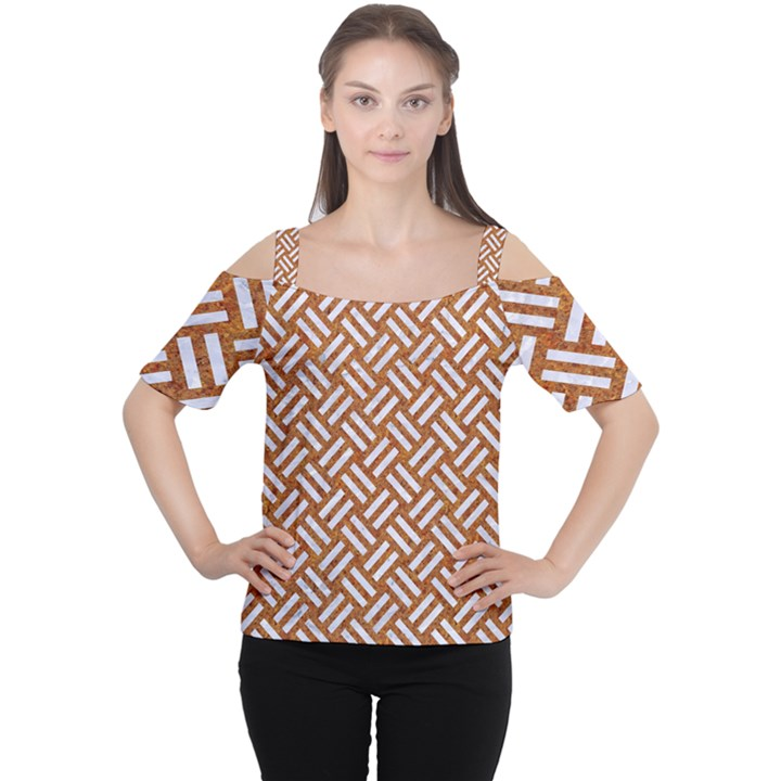 WOVEN2 WHITE MARBLE & RUSTED METAL Cutout Shoulder Tee
