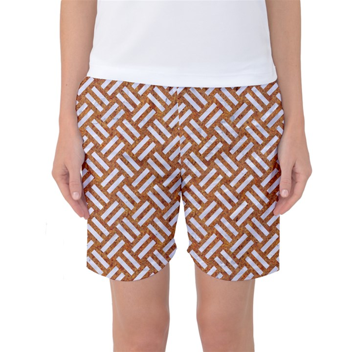 WOVEN2 WHITE MARBLE & RUSTED METAL Women s Basketball Shorts