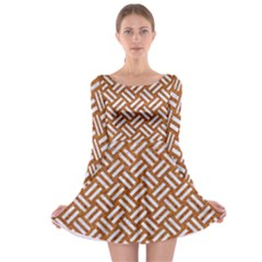 Woven2 White Marble & Rusted Metal Long Sleeve Skater Dress