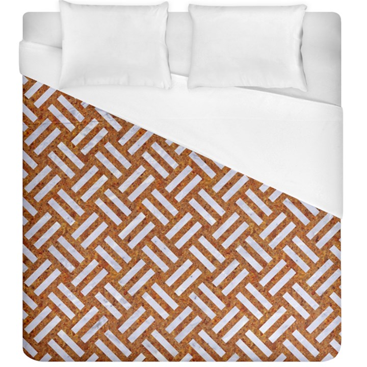 WOVEN2 WHITE MARBLE & RUSTED METAL Duvet Cover (King Size)